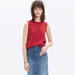 NWT Madewell Refined Rust Red Sleeveless Blouse
